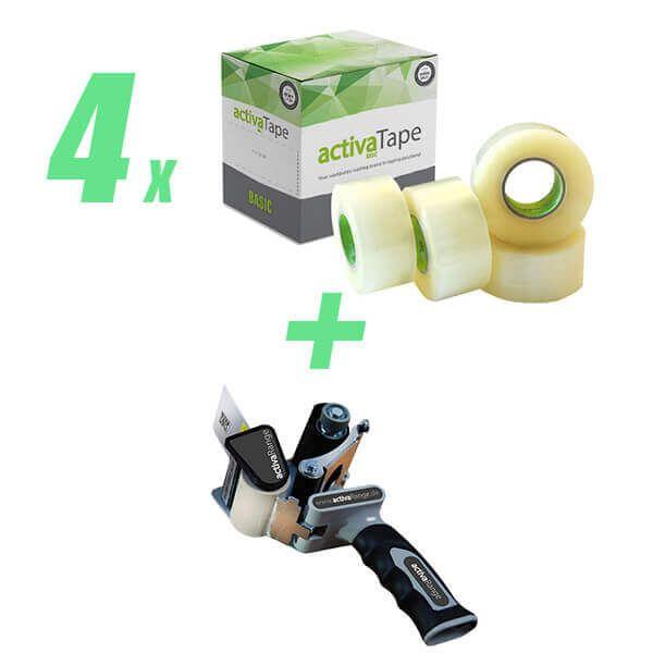 4 VE Packband 48mm x 150lfm transparent + gratis Handabroller