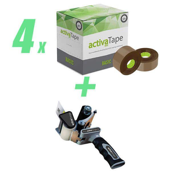 4 VE Packband 48mm x 150lfm braun + gratis Handabroller