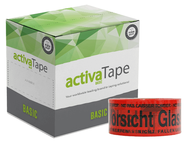 activaTec Basic - Low-Noise Packband Vorsicht Glas 48 mm x 150 lfm